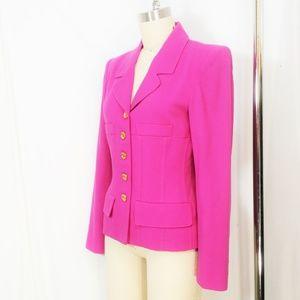 Sonia Rykiel Blazer Hot Pink Jacket Gold Buttons